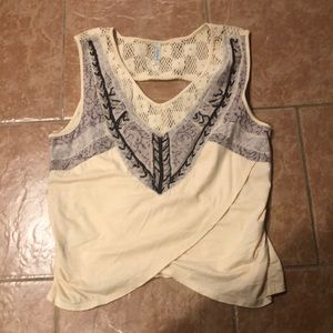 Free people embroidered crop/shell
